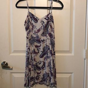 White, blue and purple paisley dress